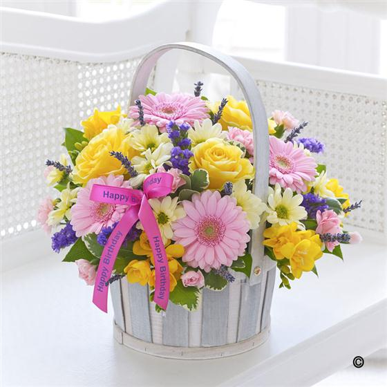 Large Happy Birthday Spring Basket New Fashion Flowers Florist Eltha