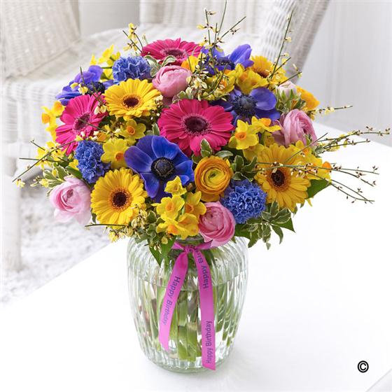 Large Happy Birthday Vibrant Spring Vase New Fashion Flowers Florist